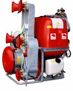 Fruitteeltspuit, GR56 radiaalblazer met 6 verstelbare blaasmonden, met PE tank , met 300/400/500/600 liter tankinhoud