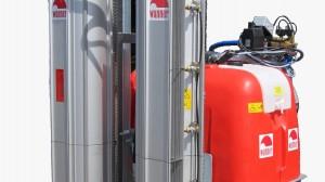 Fruitteeltspuit T16/T18/T30 met tangentiaal-blazer, hydr. aandrijving, PE/GVK tank met 300/400/500/600 liter tankinhoud