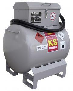 Benzinetank KS mobiel, stalen tank, 90, 200 en 300 liter inhoud, met handpomp en elektropomp