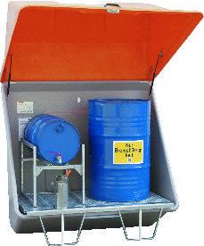 Verzamel-stations van GVK  voor gevaarlijke stoffen met rooster-bodem voor binnen- en buiten plaatsen (prijslijst blz. 184)